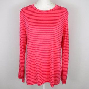 Be Inspired Pink Striped Long Sleeve Crew Neck Top